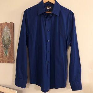 <Express> 1MX Modern Fit Blue Dress Shirt